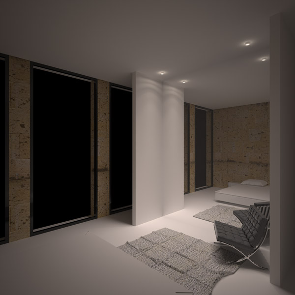interior rendering of bedroom in a 90sqm flat