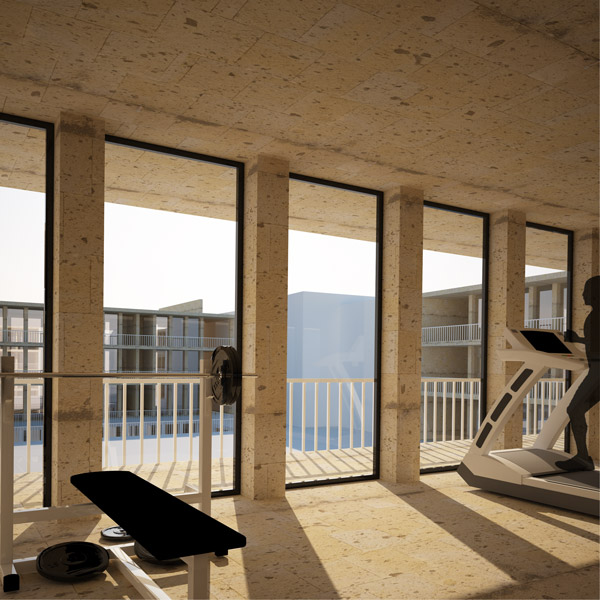 interior render of the gym