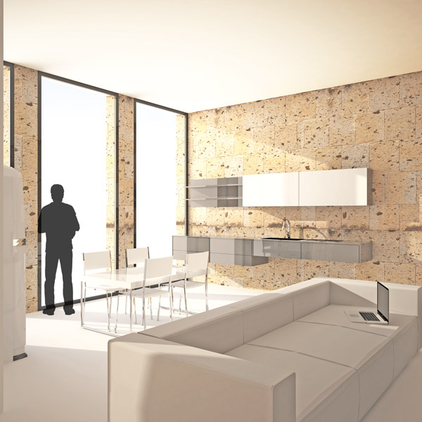 interior rendering of kitchen in a 70sqm flat