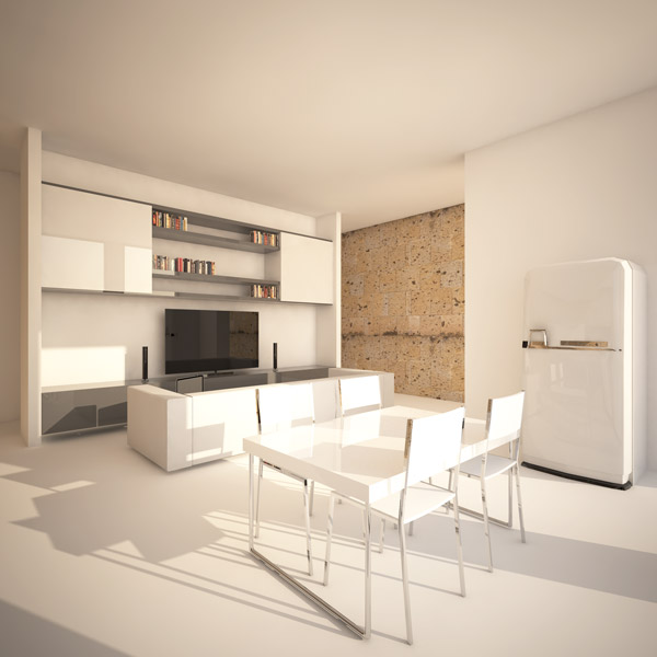 interior rendering of living in a 70sqm flat