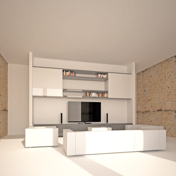 interior rendering of living in a 90sqm flat