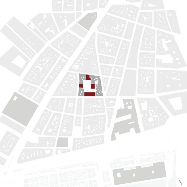 detailed city plan of a social housing building design area in madrid