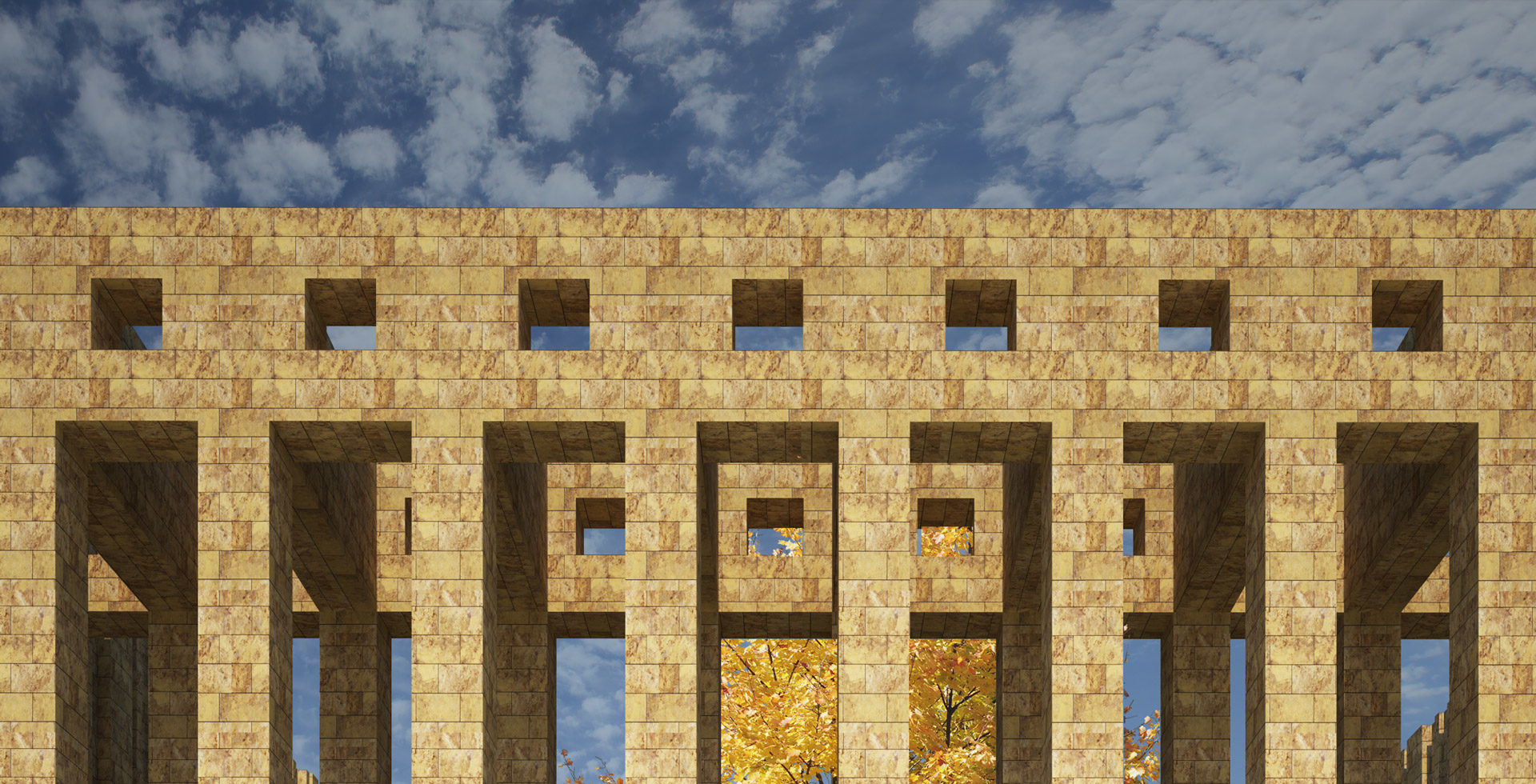 render of portico's entrance detail